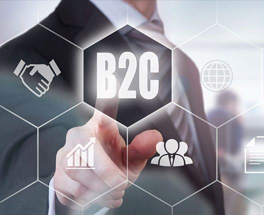 Business to Consumer (B2C) Grafik und ein Mann im Hintergrund