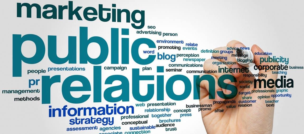 Public Relations und andere Worte in einer Wortwolke